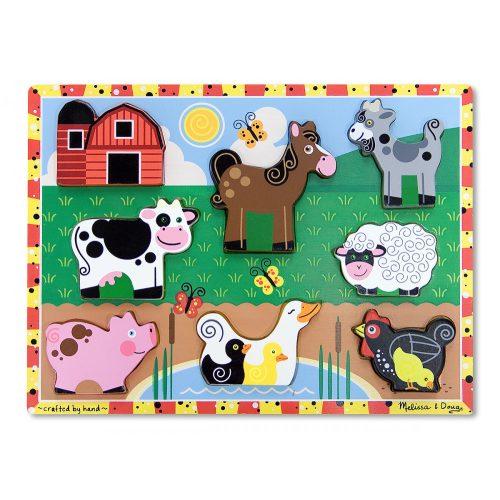 melissa&doug  készségfejlesztő játék, könnyen megfogható puzzle, farm