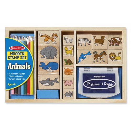 melissa&doug   fa nyomda készlet ceruzákkal, állatok