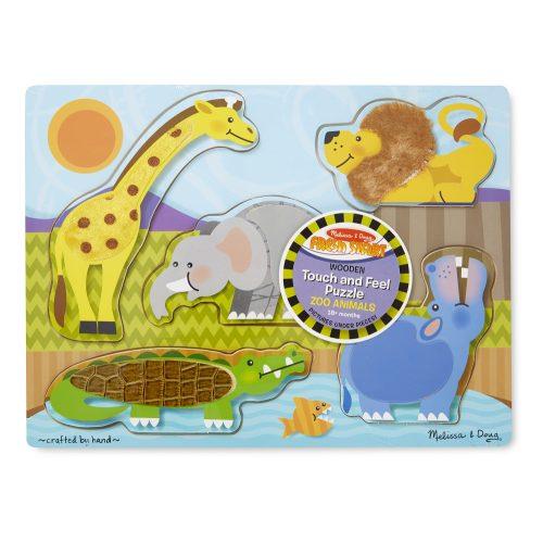 melissa&doug   fa készségfejlesztő játék, tapintós puzzle, állatkert