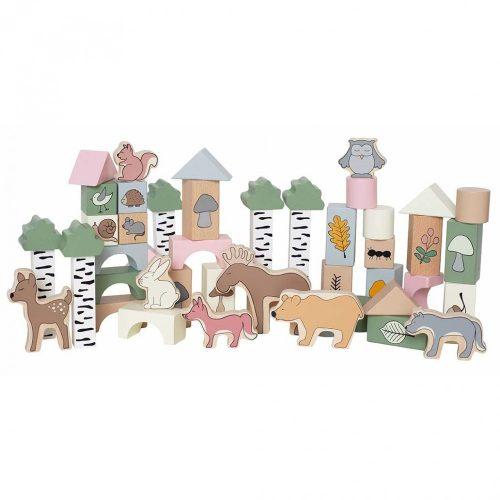 Fa építőkocka készlet -erdő állatai