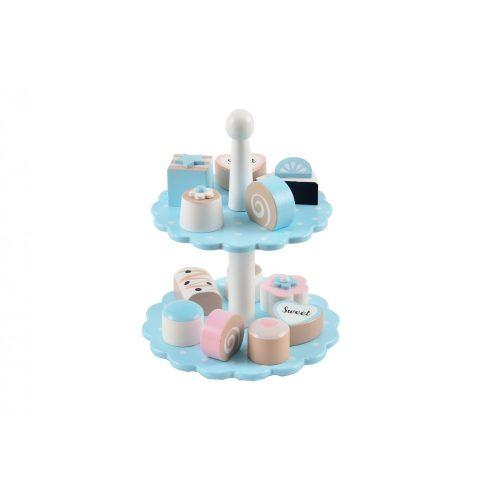 Fa pasztell kék süteményes tálaló 12 db süteménnyel