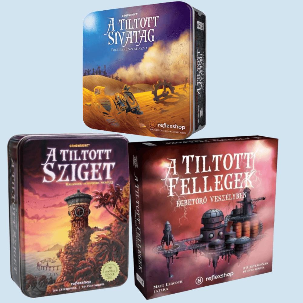 A   Tiltott  Sziget, Sivatag, és Fellegek  társasjáték trilógia bemutatása
